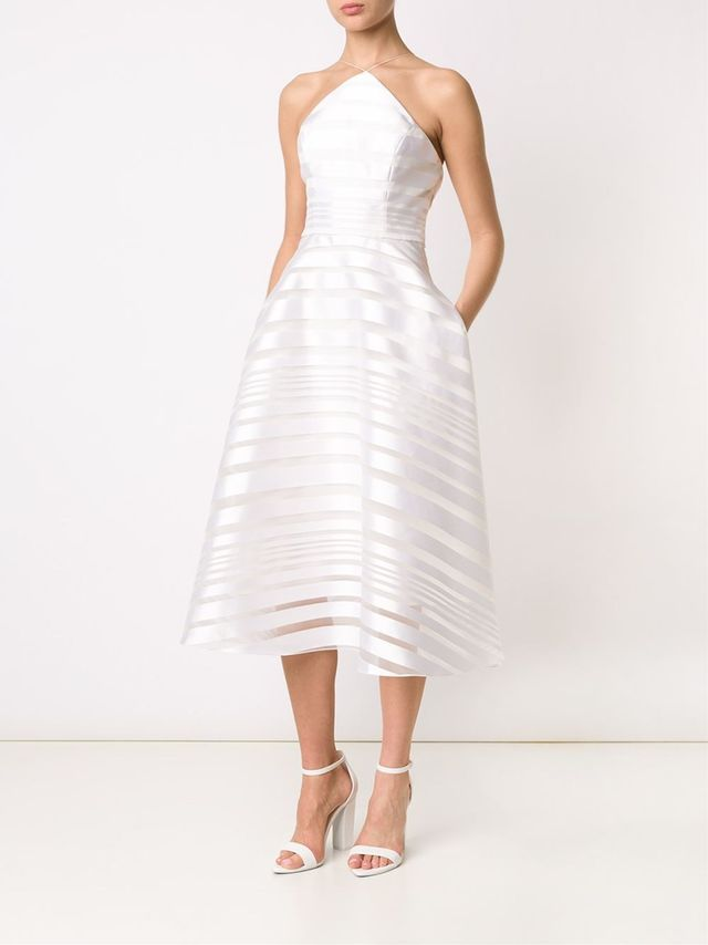 Christian Siriano Striped Halter-Neck Dress