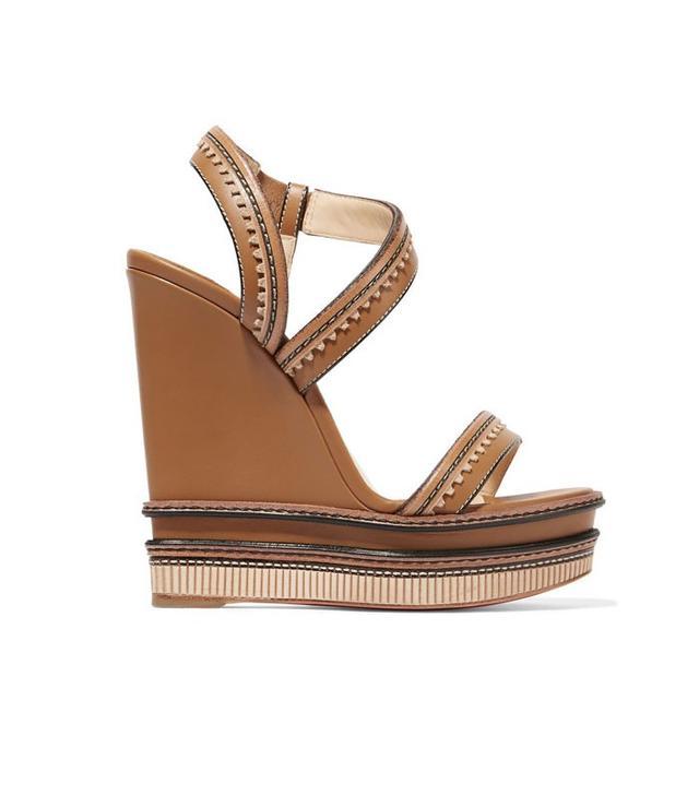 Christian Louboutin Trepi I40 Scalloped Leather Wedge Sandals