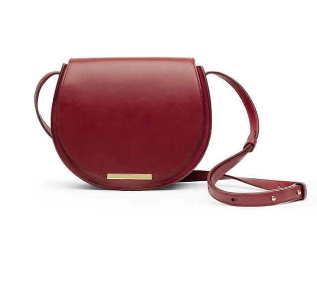 Cuyana Mini Saddle Bag in Scarlet