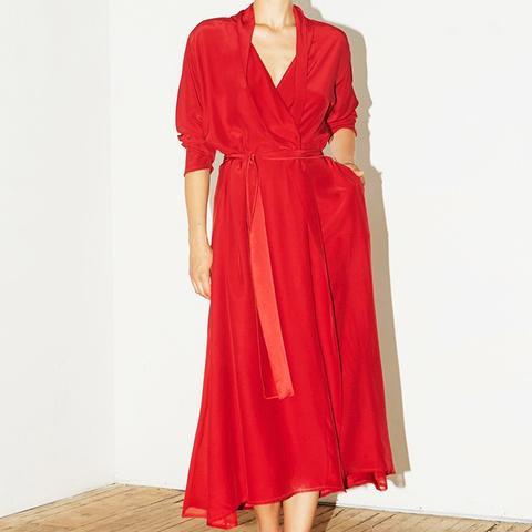 Passion Red Silk Kimono Dress