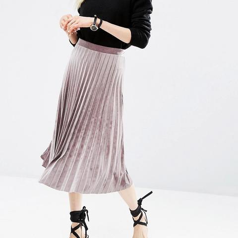 Pleated Midi Skirt in Velvet