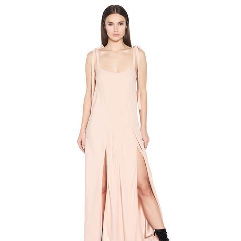 Crepe Envers Satin Slip Dress With Ties