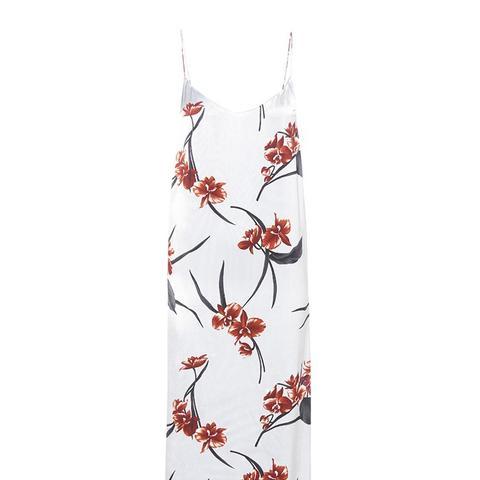 Floral-Printed Satin Slip Dress