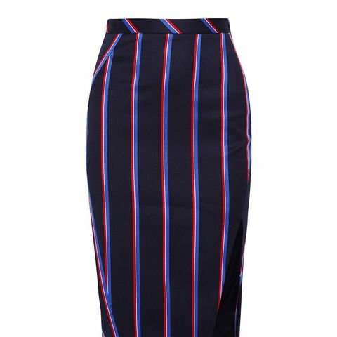 Striped Wool and Cotton-Blend Skirt