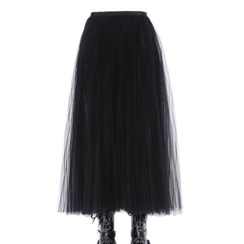 Pleated and Layered Tulle Midi Skirt
