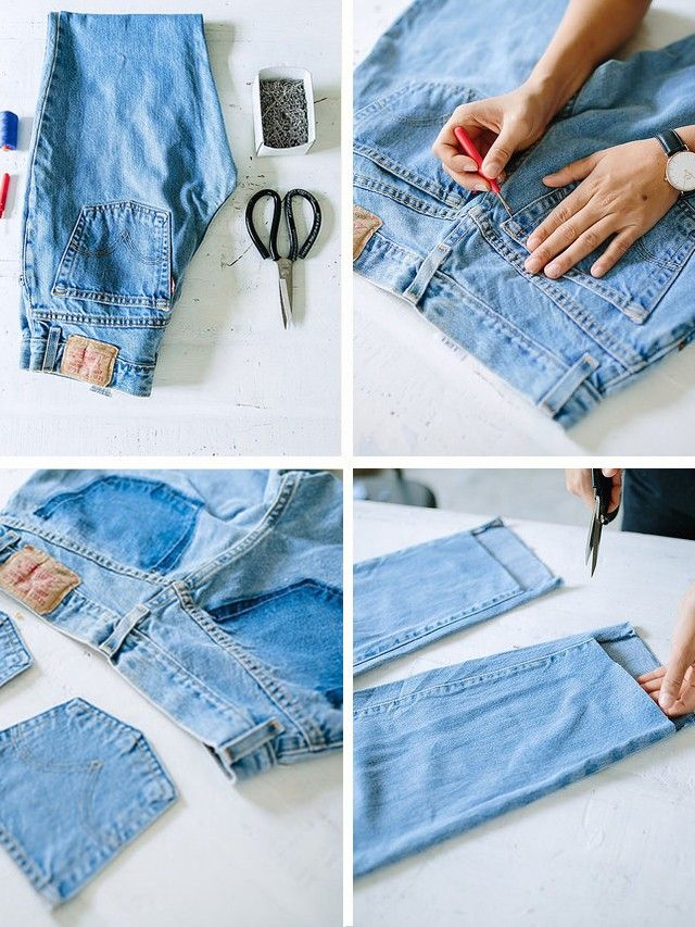 """6.Then cut straight along the front [horizontally] of the pant leg. 7. You will end up with a """"step"""" in the leg hem. Cut the hem off the back of the leg to make that a raw edge..."""