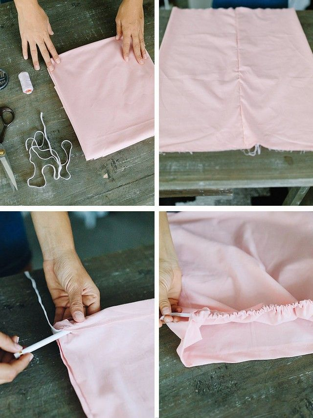5. Lay it out so the flat section is the front and the gathered section is the back. 6.Sew the elastic in place on the ends by securing it to the fabric. 7.Now, you're going to...