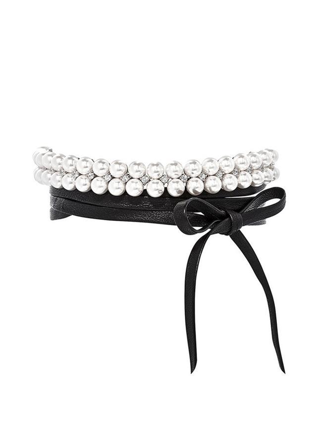 Fallon Monarch Pearl Leather Wrap Choker