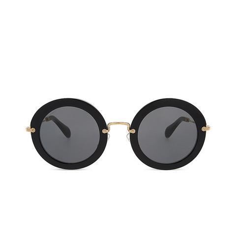 Noir Round-Frame Sunglasses