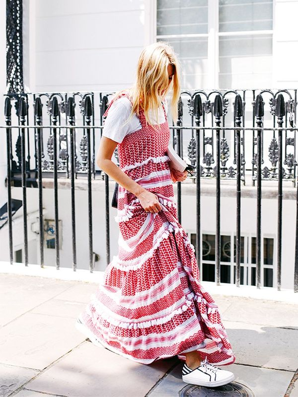 On Camille Charrière: Dodo Bar Or dress; Levi's T-shirt; Senso sneakers.