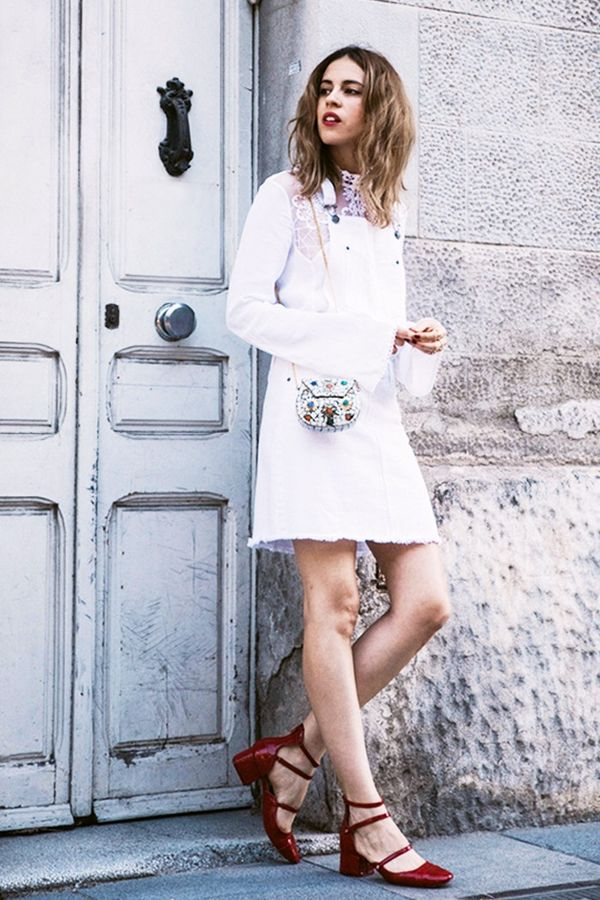 On Saray Martín: ASOS Ultimate Embroidered High Neck Blouse($62) ($24); Blanco dress; D-India bag; Zara shoes.