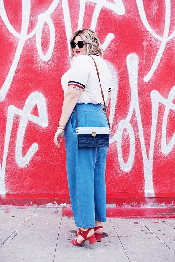 On Nicolette Mason:ASOS top; Edie Parker bag; Marais Jardin Heel($245).