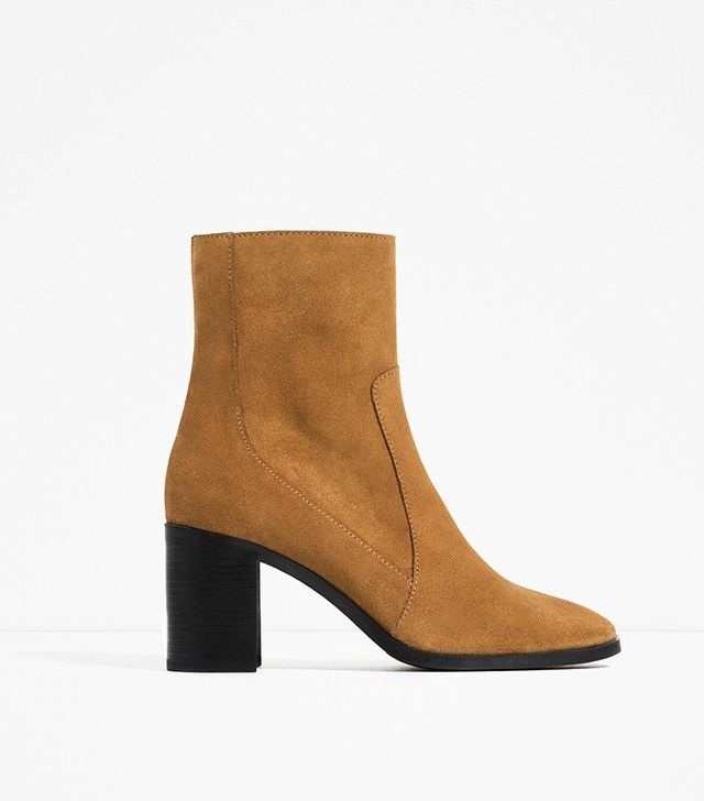 Zara Leather High Heel Ankle Boots