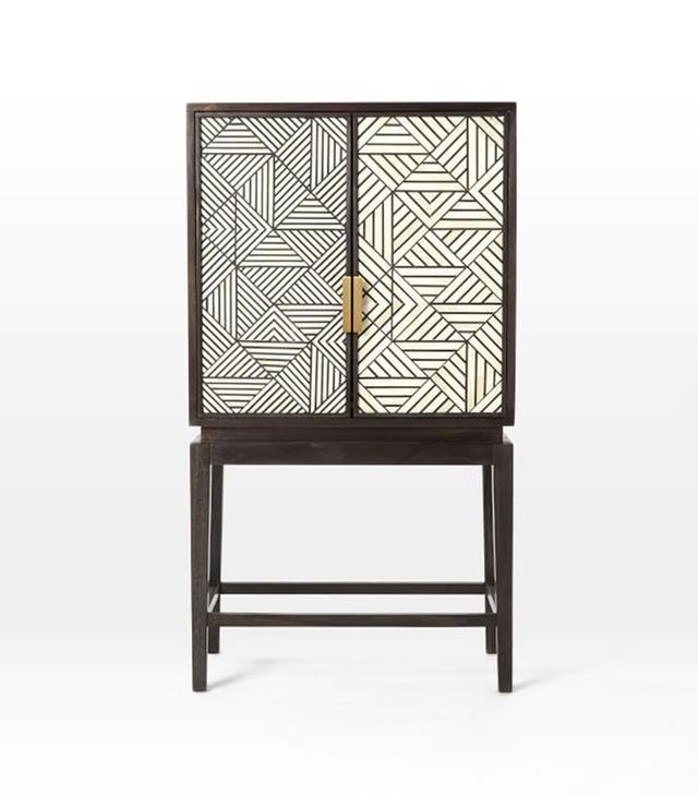 West Elm Bone Inlaid Bar Cabinet
