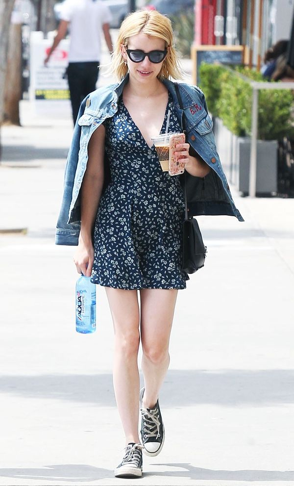 Emma Roberts denim jacket and dress
