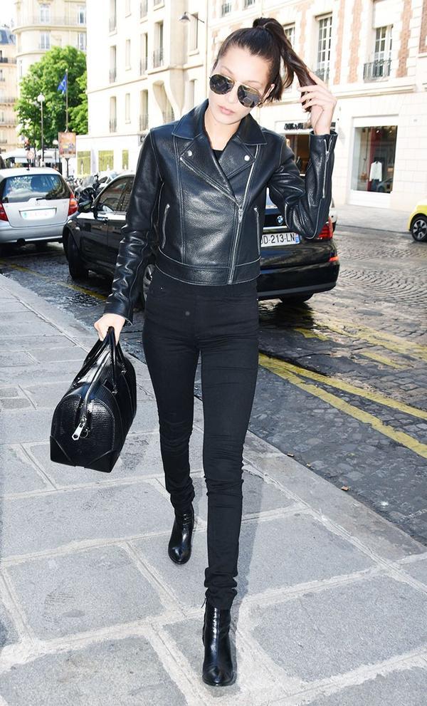 Bella Hadid leather jacket