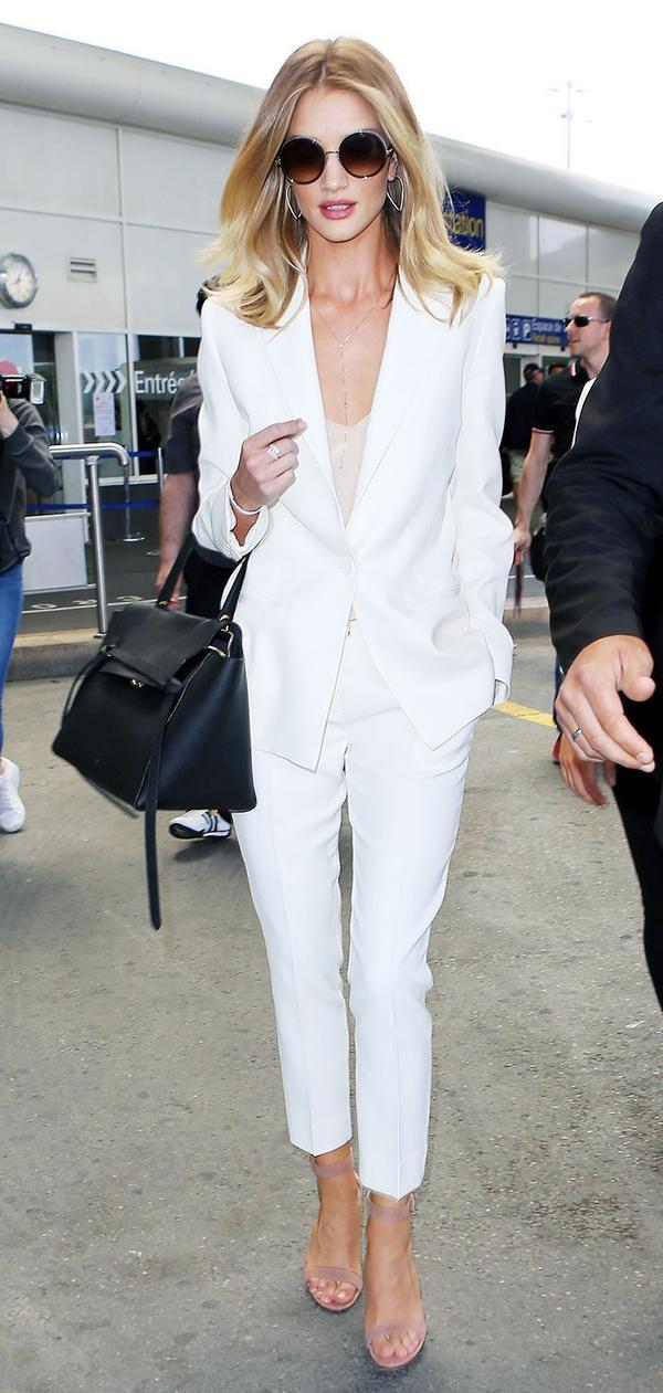 Rosie Huntington-Whiteley airport white suit