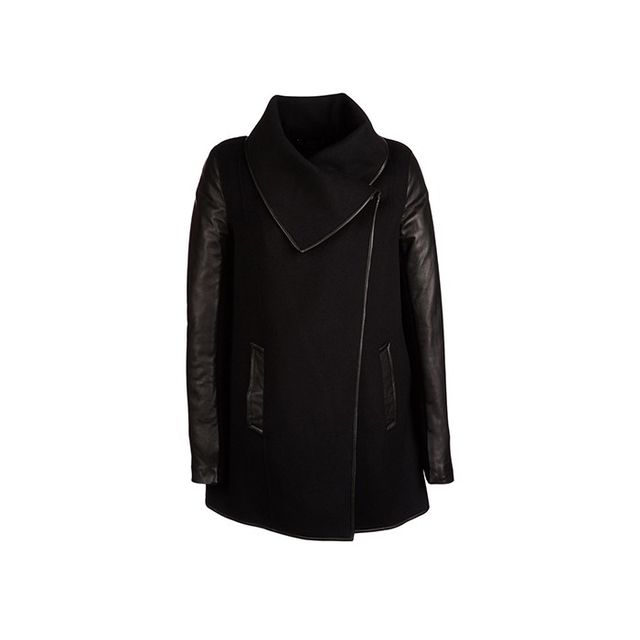 Mackage Boa Draped Wool Coat with Leather Sleeves
