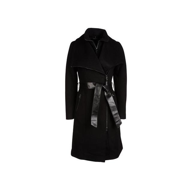 Mackage Nori Wool Coat with Leather Tie Belt