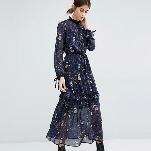 Ruffle Neck Tiered Maxi Dress