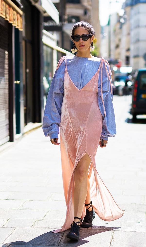 Velvet Dress + Long-Sleeved Shirt