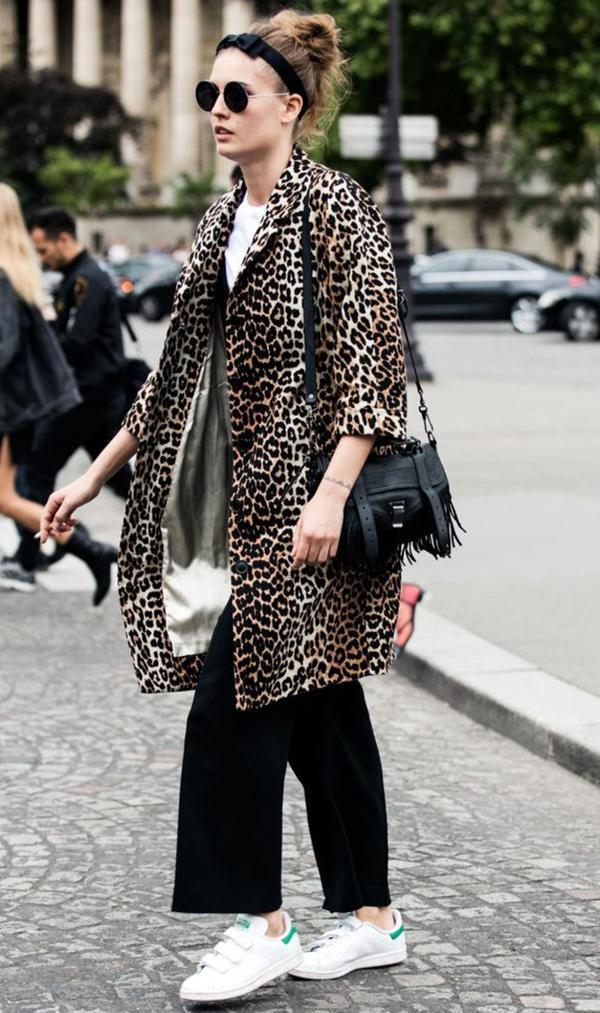 Leopard Coat + Sneakers