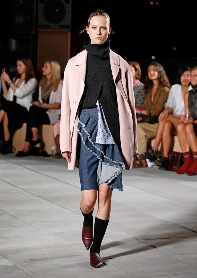 Thakoon Frayed Ruffle Denim Skirt