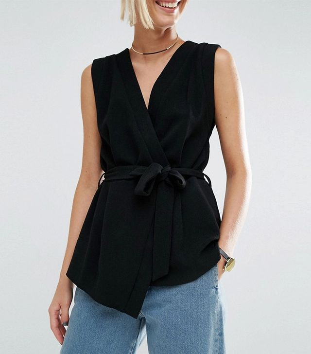 Asos Sleeveless Obi Wrap Top