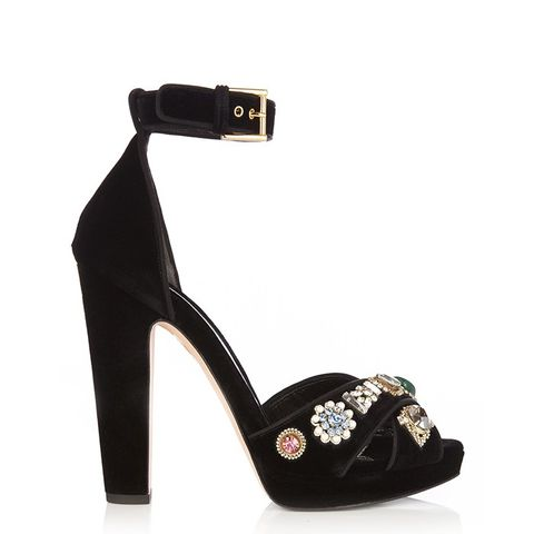 Embellished Crossover-Strap Velvet Sandals