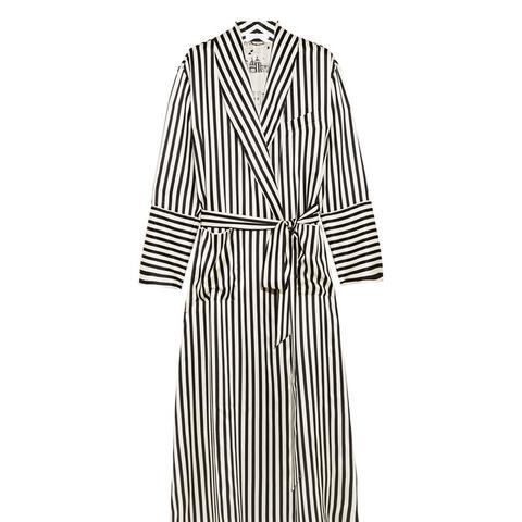 Capability Nika Striped Silk-Satin Robe