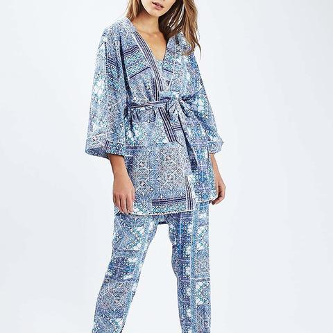 Tile Print Pyjama Robe and Trousers