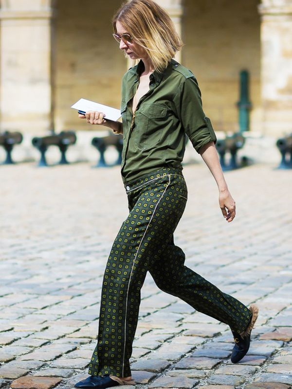 Style Notes: You don't have to do pj's head to toe: Even a pair of Hugh Heffner–worthy trousers go the distance. Pair with your favourite weekend shirt and flats.