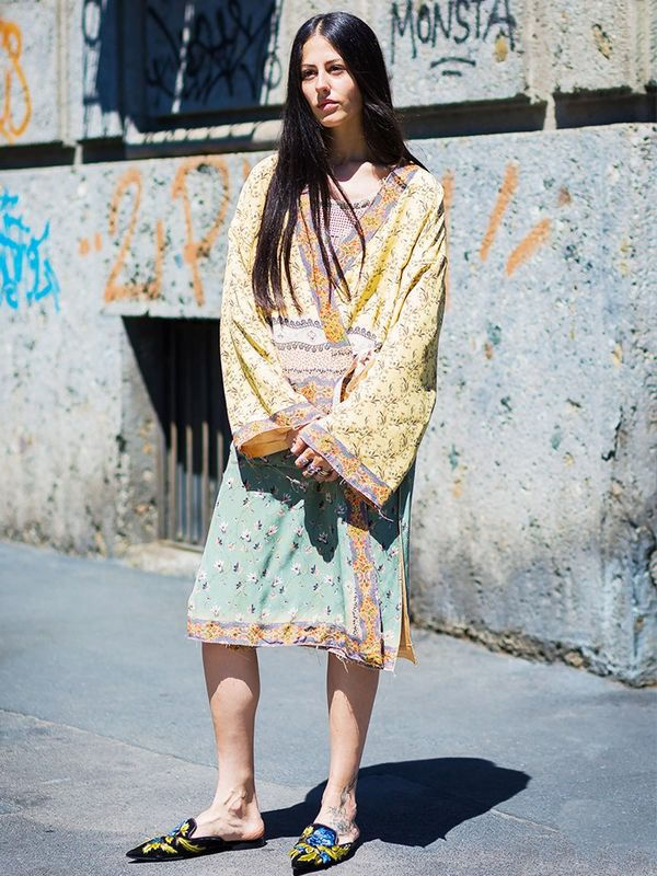 Style Notes: You know the kind of hippie garms you pick up on your gap year? Those are now considered appropriate dresses for day, so go on and dig yours out. Take the trend a step further with...