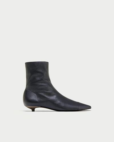 FLAT LEATHER ANKLE BOOTS WITH TOE CAP DETAIL