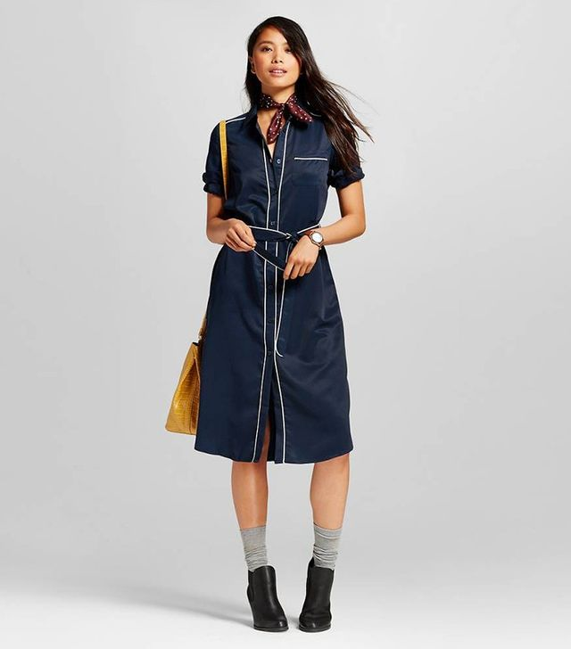 Who What Wear Pajama Shirt Dress in Blue