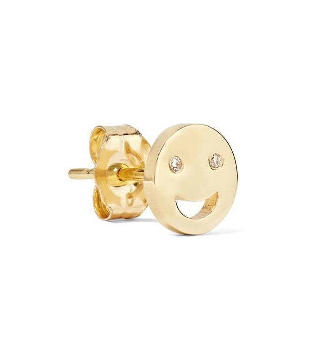 Alison Lou Happy 14-Karat Gold Diamond Earring