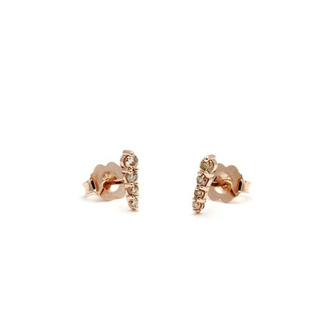 Pavé Pointe Stud Earrings (Ultra Tiny) in Rose Gold & Champagne Diamond