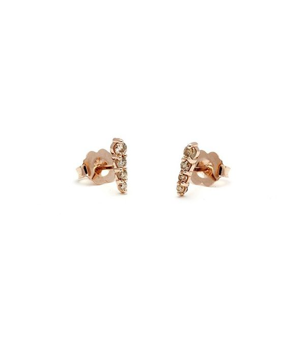 Anna Sheffield Pavé Pointe Stud Earrings (Ultra Tiny) - Rose Gold & Champagne Diamond