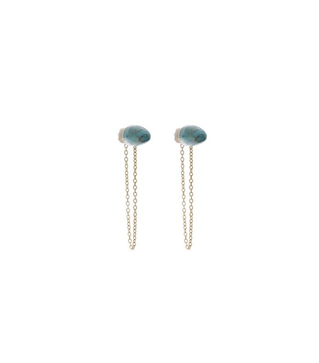 Flaca Jewelry Turquoise Cone Stud with Chain Earrings