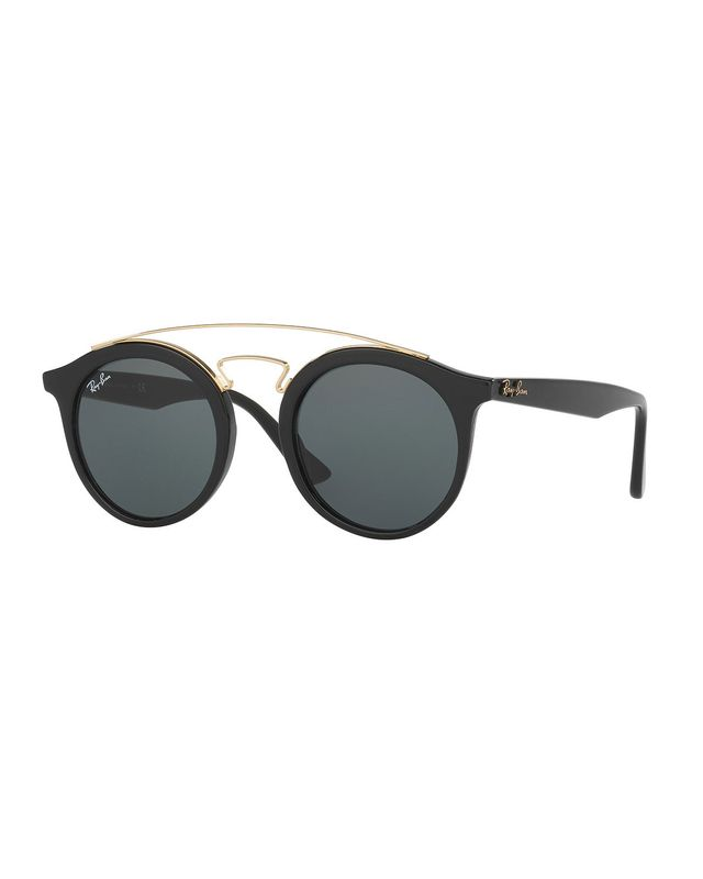 Ray Ban Round Brow-Bar Sunglasses