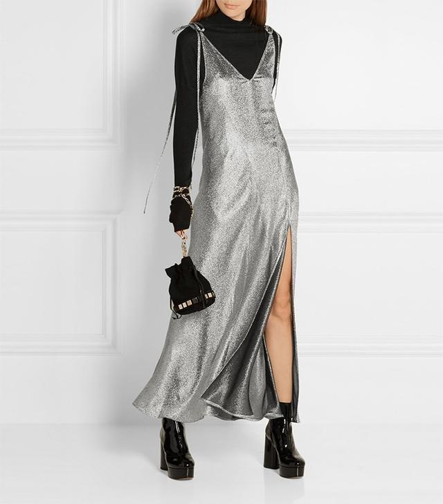 Attico Marisa Stretch Silk-Blend Lamé Maxi Dress