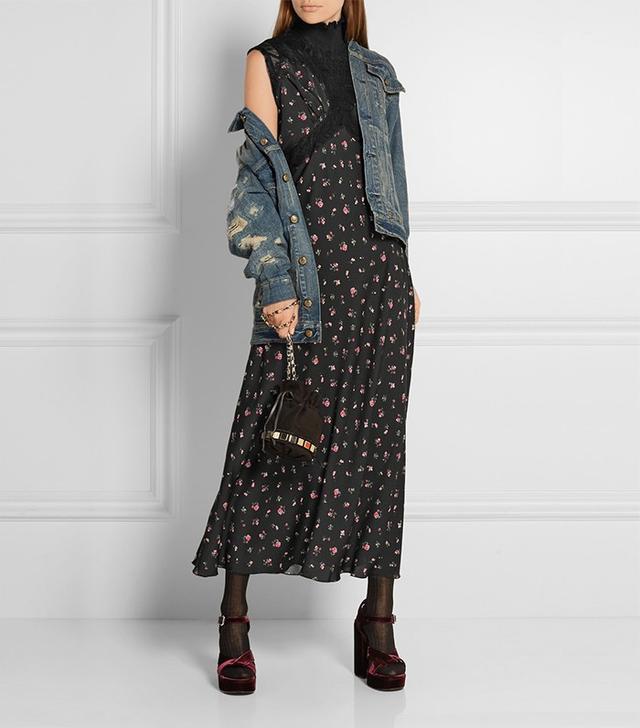 Attico Peggy One-Shoulder Lace-Paneled Silk Crepe de Chine Dress