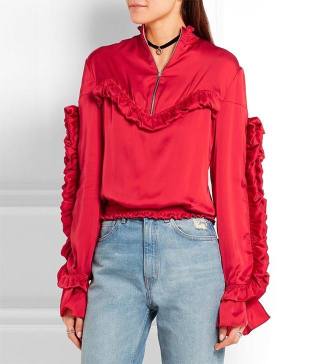 Magda Butrym Granada Ruffled Silk-Satin Blouse