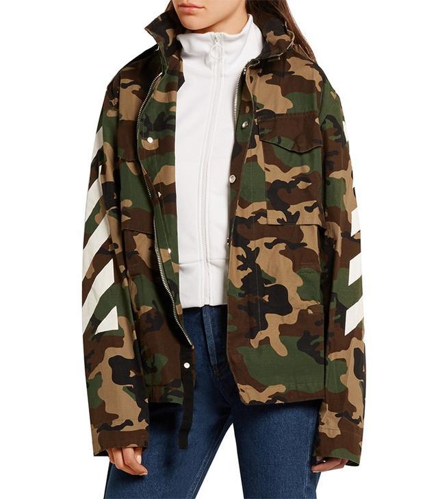 Off-White Oversized Camouflage-Print Cotton-Canvas Jacket