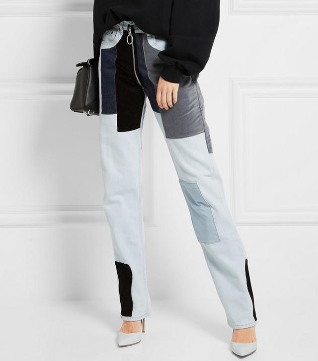 Off-White Patchwork Velvet-Paneled Mid-Rise Straight-Leg Jeans