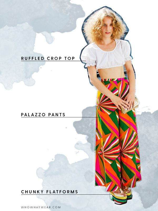 Dare to bare a little skin with a ruffled crop and playful trousers.