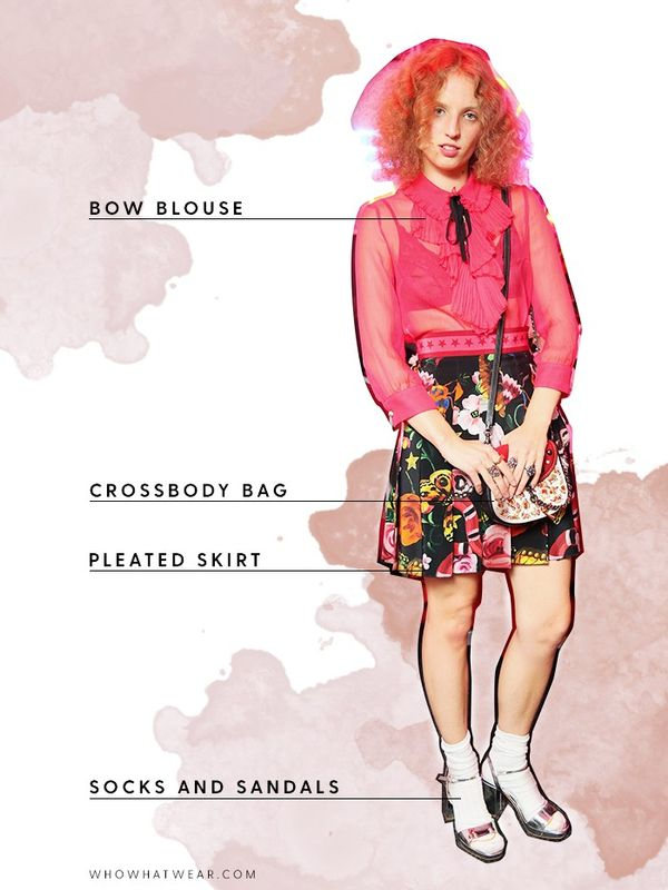 Add eccentricity to your night-out look by styling a sheer bow blouse with socks and sandals.