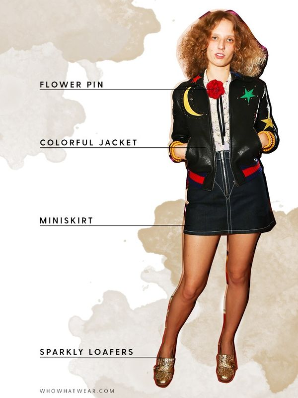 Accessorize a leather jacket and moto skirt with a floral pin.