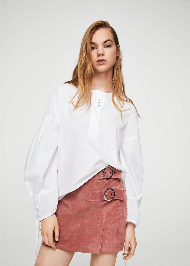 Buckles leather skirt