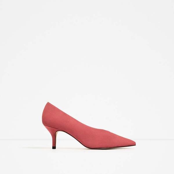 Zara Suede Mid Heel Shoes